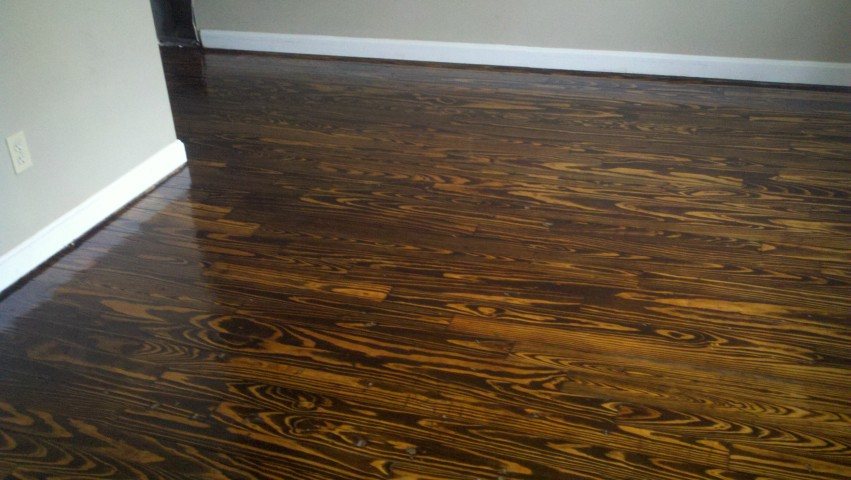 a recently refinished hardwood floor