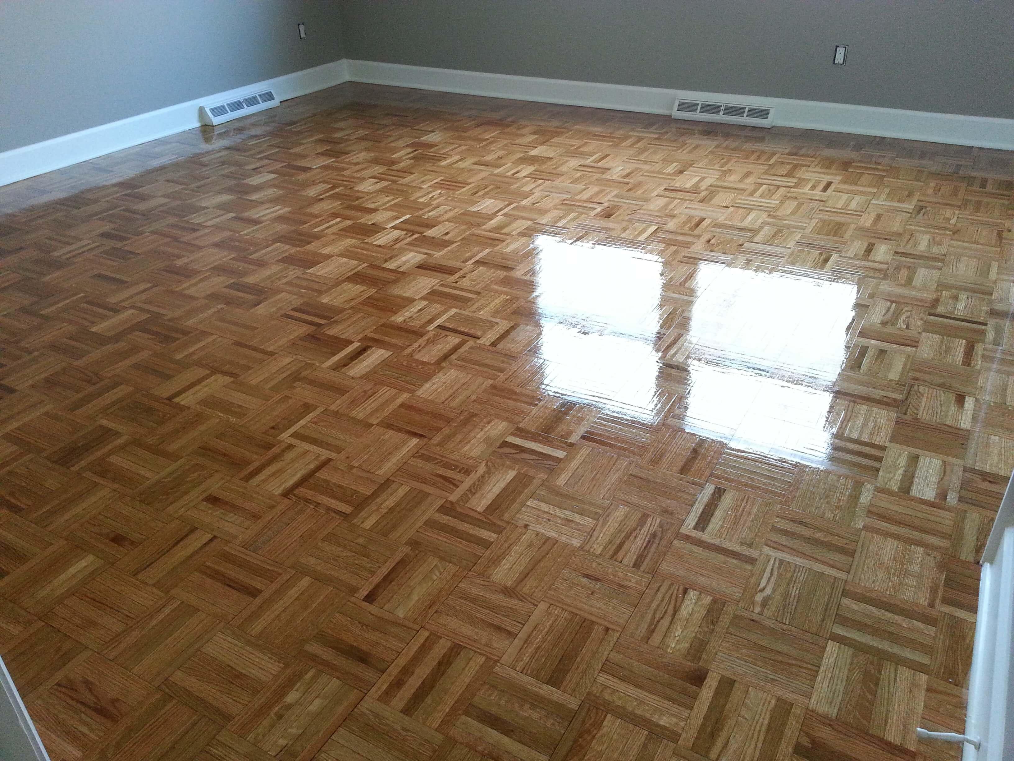a refinished parquet hardwood floor in Trenton