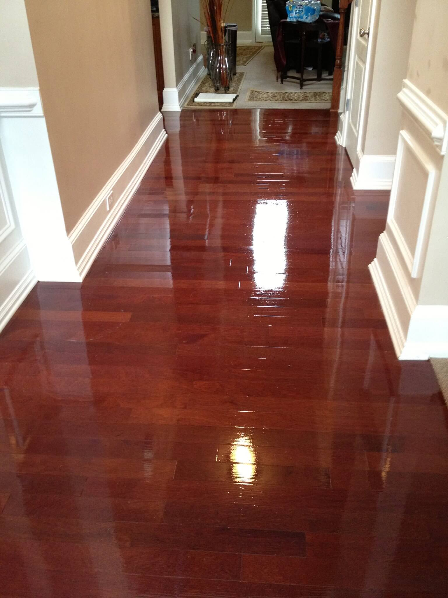 after a hardwood floor refinishing in a newark, nj home