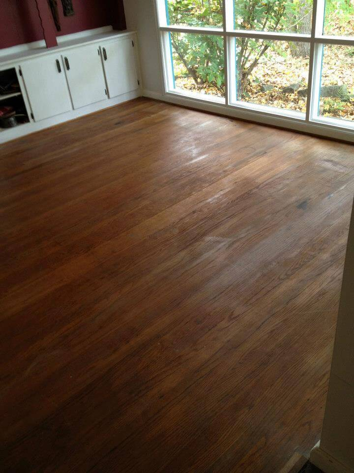 a lightly damaged hardwood floor in central jersey