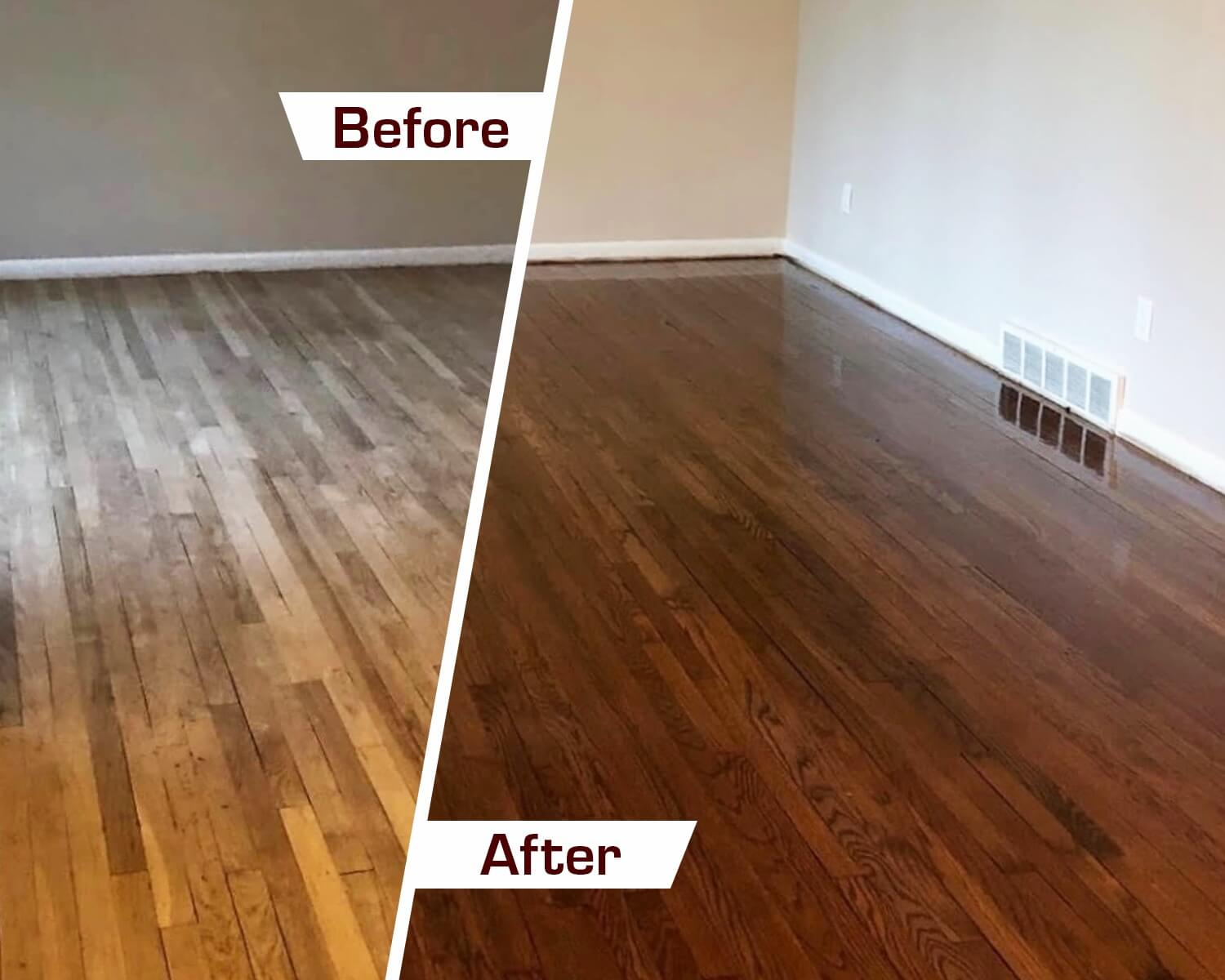 Hadwood floor refinishing before and after in north, central, and south jersey