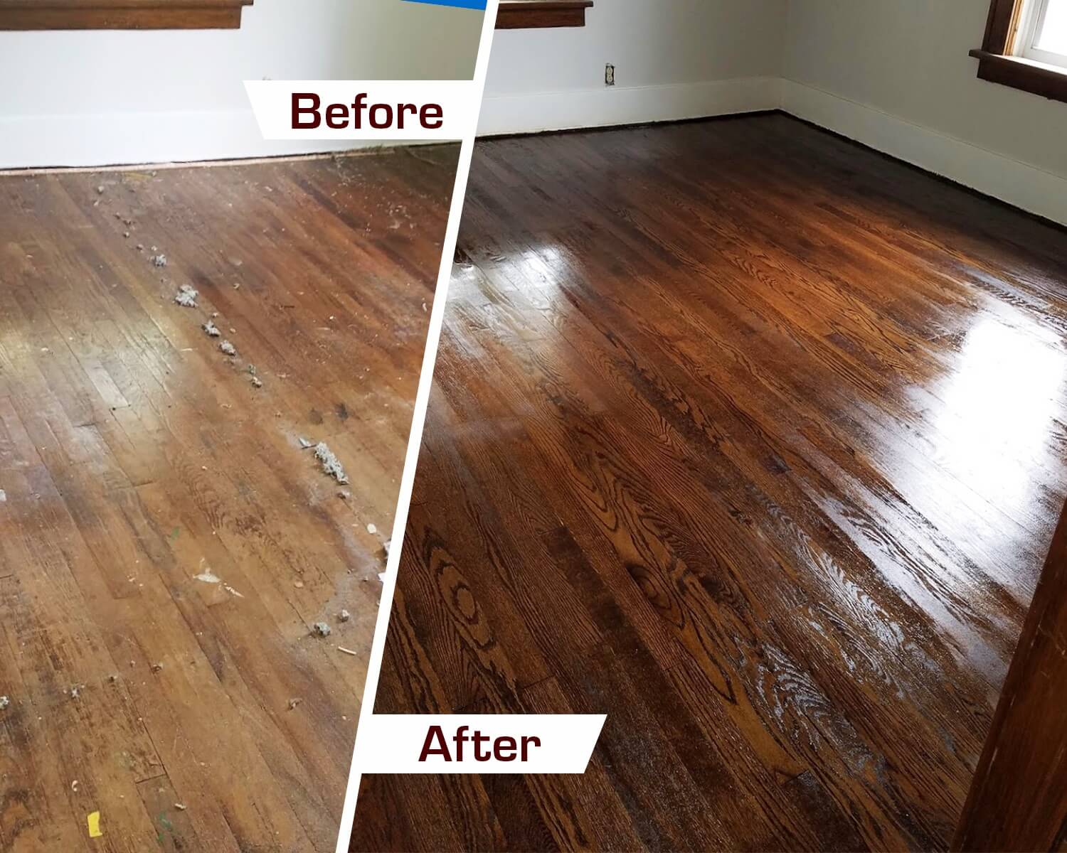 before and after hardwood floor refinishing in trenton, nj