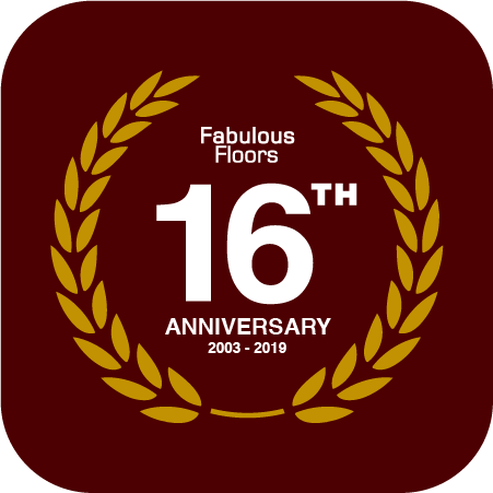 a badge celebrating Fabulous Floors 16 years in the hardwood renewal industry