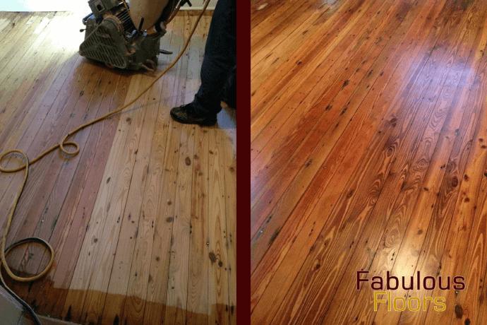 before and after hardwood floor refinishing in Trenton, NJ