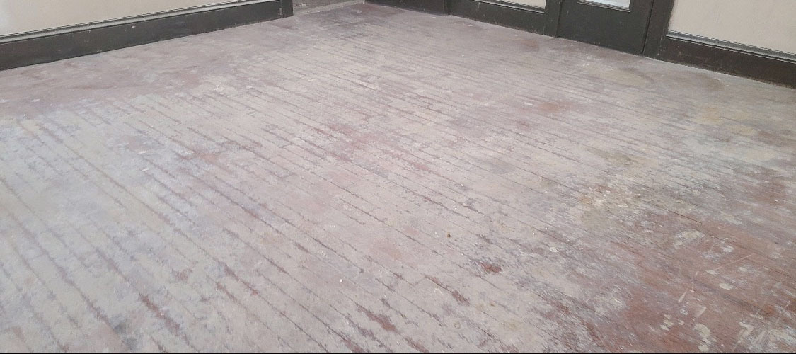 A damaged hardwood floor in South Jersey