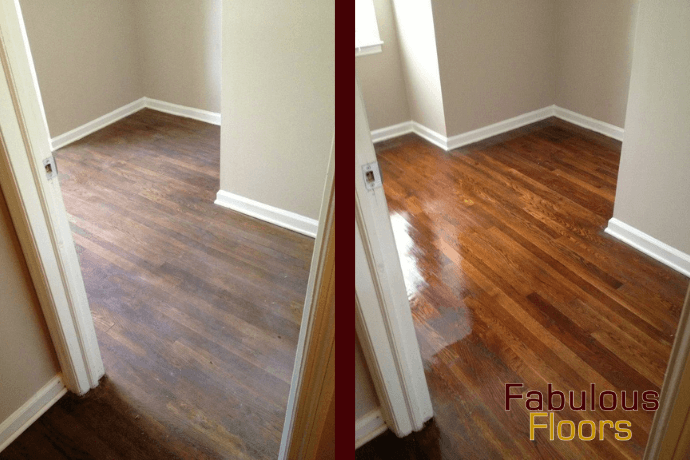 before and after hardwood floor refinishing in Princeton, NJ