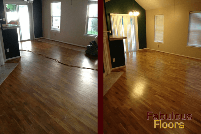before and after hardwood floor refinishing in Paramus, NJ